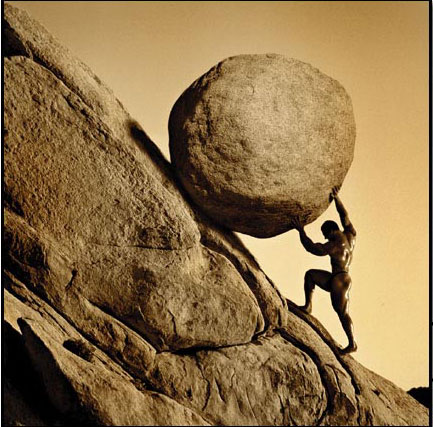 Sisyphus with his boulder
